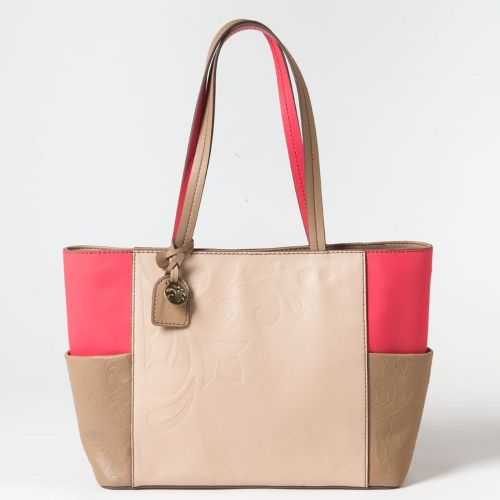 Jim Shore Fashion Jasmine Leather Coral and Frappe Tote